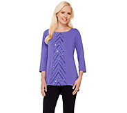 As Is Bob Mackies 3/4 Sleeve Knit Top with Chevron Sequin Detail - A282005