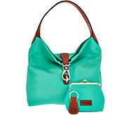 As Is Dooney & Bourke Nylon Hobo with Logo Lock - A282605
