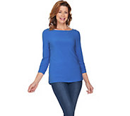 Susan Graver Textured Liquid Knit Top with Button Trim - A286705