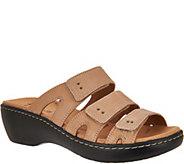 Clarks Leather Triple Adjust Slide Sandals - Delana Damir - A288105