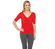 As Is Legacy Conceal It Solid Ruched Half Sleeve Tee - A288205