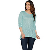 Lisa Rinna Collection 3/4 Sleeve Top with Back Detail - A289005
