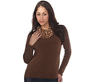 As Is George Simonton Milky Knit Top w/ Animal Print Cowl Hood - A291305