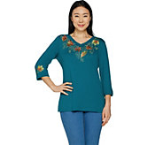 Quacker Factory Turning Over A New Leaf V-Neck Knit Top - A294005