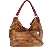 G.I.L.I. Croco Embossed Italian Leather Slouchy Wing Hobo - A295505
