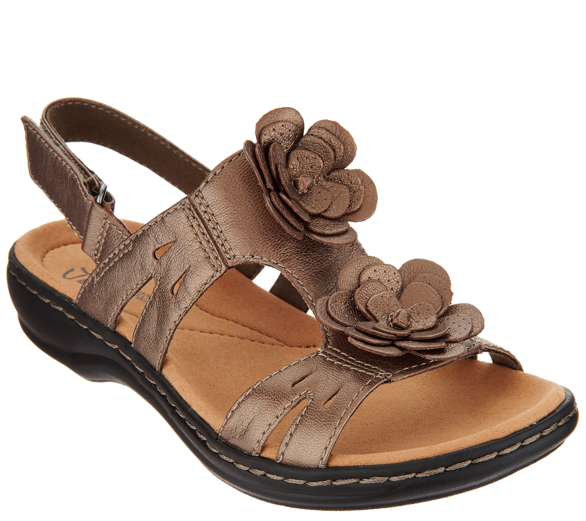 Quot As Is Quot Clarks Leather Lightweight Sandals Leisa Claytin
