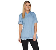 Joan Rivers Lightweight Denim Shirt with Ruffle Hem - A301805