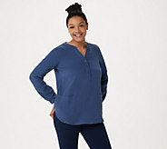Joan Rivers Crinkle Texture V-Neck Tunic with Pockets - A304205