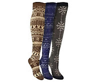 MUK LUKS Womens Multicolor Over-the-Knee 3-Pac k Socks - A331005