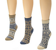 MUK LUKS Womens 3-Pair Holiday Crew Socks - A337705