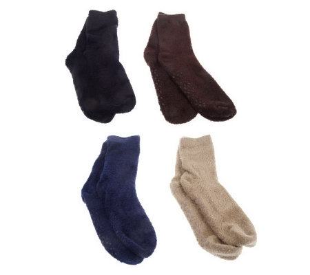 4 Pair of Scented Aloe Stretch Socks w/Skid Resistance