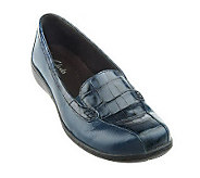 As Is Clarks Bendables Leather Croco Embossed Slip-on Loafers - A213406
