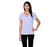Susan Graver Liquid Knit Shirred V-neck Short Sleeve Top - A215706