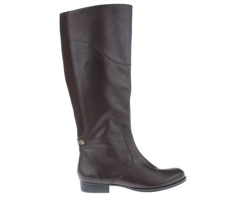 Isaac Mizrahi Live! Gored Back Smooth Leather Riding Boots
