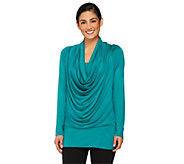 Attitudes by Renee Cowl Neck Slub Knit Top w/Banded Hem - A228206