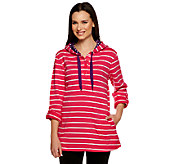 Susan Graver Weekend Striped French Terry Henley Pullover w/Drawstrings - A230806