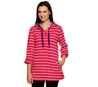 Susan Graver Striped French Terry Long Sleeve Henley Pullover