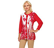 Bob Mackies Poppy Print and Solid 3/4 Sleeve Cardigan - A231806