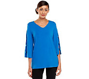 Susan Graver Liquid Knit V-neck Top w/ Banded Split 3/4 Sleeves - A233706