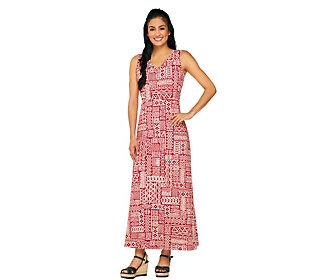 Denim & Co. Sleeveless V-neck Tribal Print Knit Maxi Dress