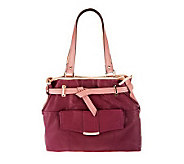 B.Makowsky Leather Belted Tote Bag with Front Pocket - A236106