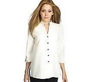 As Is Susan Graver Stretch Crepe 3/4 Sleeve Mandarin Collar Jacket - A239906