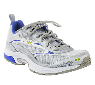 ryka prelude leather mesh lace up sneakers qvc