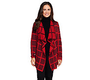 Isaac Mizrahi Live! Window Pane Draped Front Cardigan - A258406