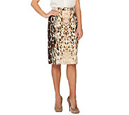 George Simonton Printed Scuba Knit Skirt with Seaming Detail - A260606