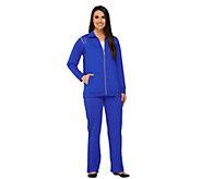 Quacker Factory Rhinestone Shoulder Jacket and Pants Set - A260706