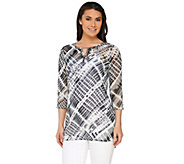 Susan Graver Printed Sheer Chiffon Tunic with Embellishment - A263006
