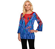 Bob Mackies Art Nouveau Floral Print 3/4 Sleeve Top - A263606