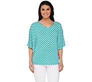 Susan Graver Striped Liquid Knit Reversible Scarf Top - A263806