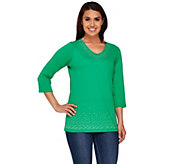 Quacker Factory V-Neck Sparkle 3/4 Sleeve T-Shirt - A264506
