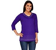 Quacker Factory V-Neck Sparkle 3/4 Sleeve T-Shirt - A264506