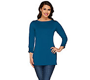 Susan Graver Premier Knit Top with Split Sleeve Detail - A266806