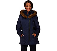 Susan Graver Asymmetrical Zip Front Coat with Faux Fur Trim - A268806