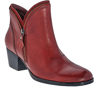 Earth Leather Ankle Boots w/ Zipper Detail - Hawthorne