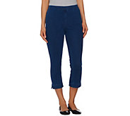 Isaac Mizrahi Live! Regular Knit Denim Pull-On Crop Pants - A272906