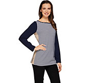 Susan Graver Weekend Striped Stretch Cotton Modal Color Blocked Top - A273506