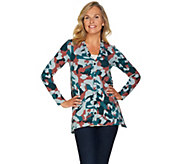 LOGO Lounge by Lori Goldstein Printed French Terry Cardigan - A282806