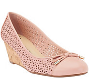 As Is Isaac Mizrahi Live! Perforated Leather Cork Wedges - A283806