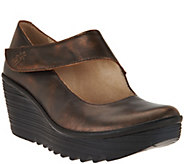 FLY London Leather Wedge Mary Janes - Yasi - A283906