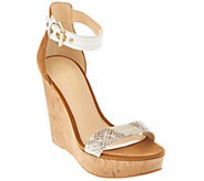As Is Marc Fisher Suede Ankle Strap Cork Wedges - Heart - A286506