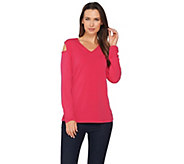 Susan Graver Liquid Knit Long Sleeve Cold Shoulder Top - A286706