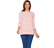 Denim & Co. Active Striped 3/4 Sleeve Round Neck Top - A288706