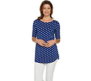 Isaac Mizrahi Live! Polka Dot Elbow Sleeve Knit Tunic - A289606