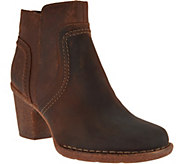 As Is Clarks Artisan Leather Stacked Heel Ankle Boots - Carleta Paris - A290706