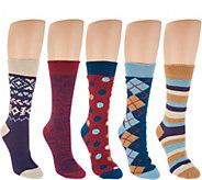 MUK LUKS Microfiber Boot Socks Set of 5 - A297906