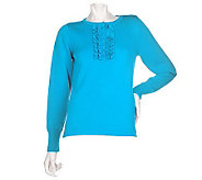 Denim & Co. Henley Sweater with Ruffle Placket - A82506